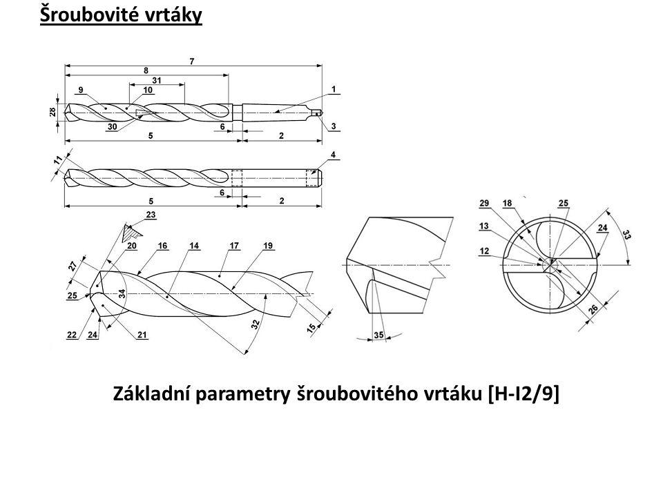 Šroubovité vrtáky Základní parametry šroubovitého vrtáku [H-I2/9]